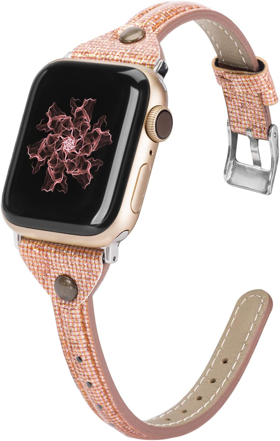 Wearlizer Thin Leather Compatible with Apple Watch Bands 38mm 40mm for iWatch SE Womens Slim Smooth Bling Strap Leisure Cute Glitter Rivet Shiny Wristband (Silver Clasp) Series 6 5 4 3 2 1-Deep Gold