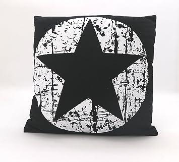 Fashion And Joy Dekokissen Maritim Vintage Sterne In Schwarz Weiß Mit  Füllung U0026 Reißverschluß 45x45 Cm