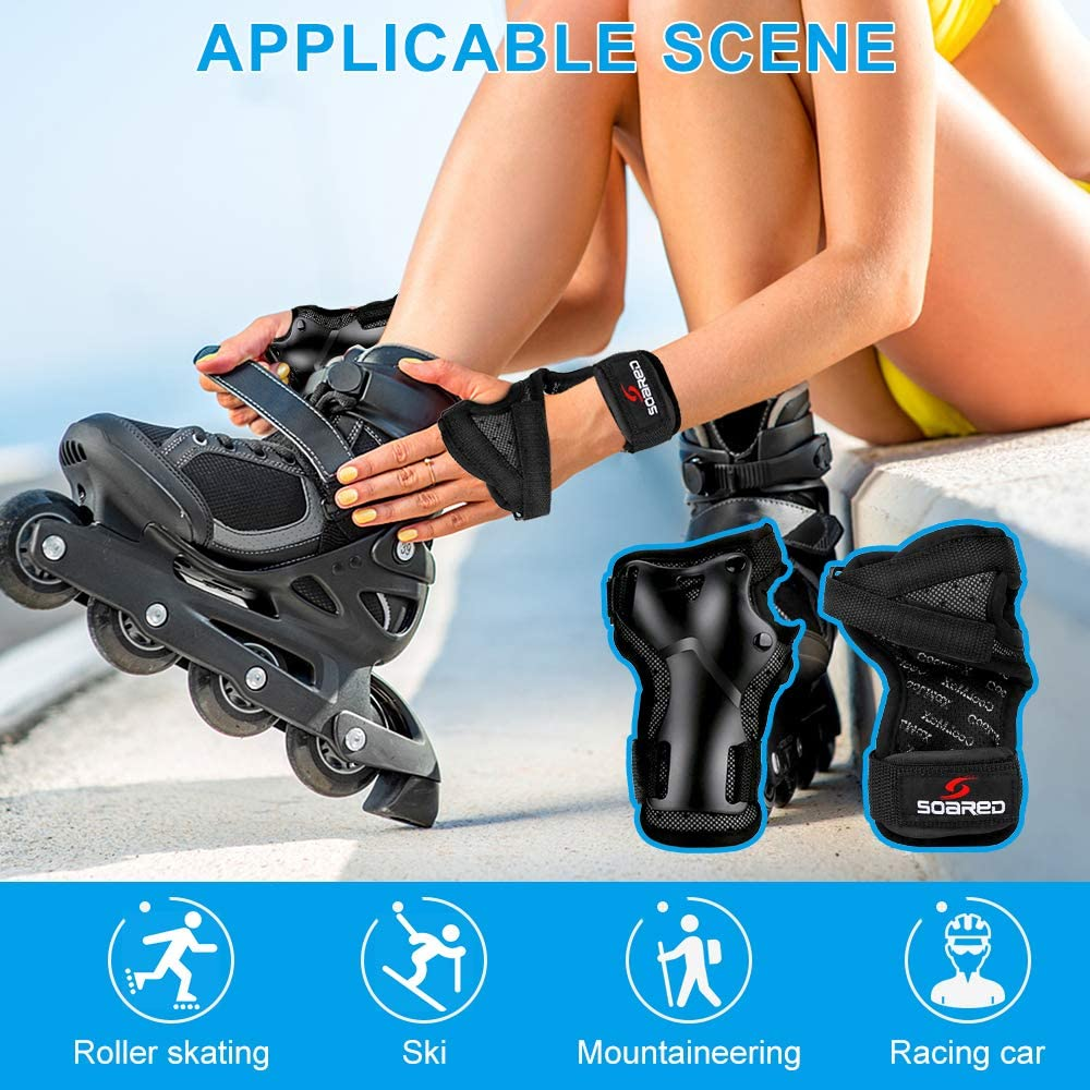 1 Pari Skating Hand Pads Protective Gear Wrist Brace Support with Adjustable Strap Handguards Wristbands for Children Boys Gilrs Snowboard Roller Skiing Scooter Black BicycleStore Kids Wrist Guards