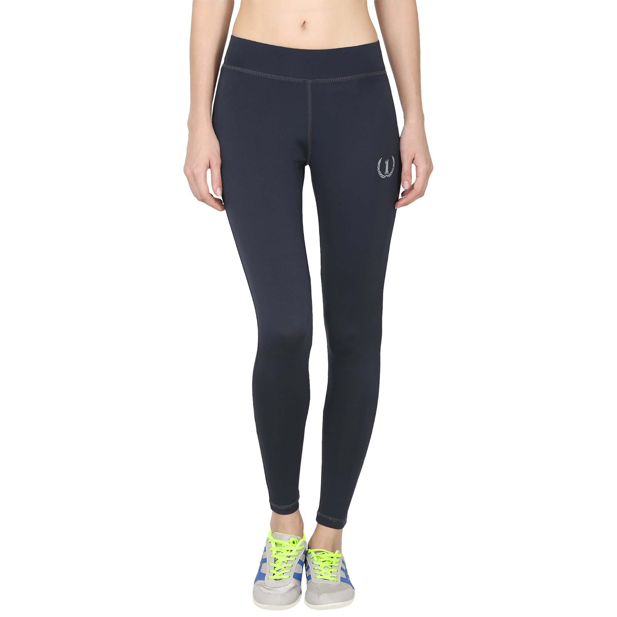 8dd7358b19f03 ONESPORT Dark Grey Solid Slim Fit Ankle Length Sports Tights for  Women(ONSP40DG) product