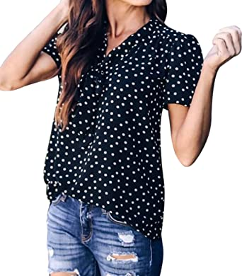 7f9c01a9075b MAXIMGR Women's Vintage Polka Dot Print Bow Tie Front Short Sleeve Chiffon  Shirt Casual Summer Top