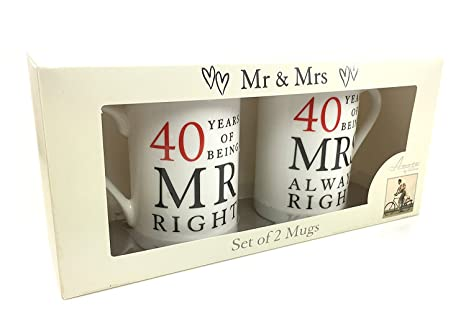 Buy 40th Ruby Wedding Anniversary Gift Pair Of Mugs Online At Low