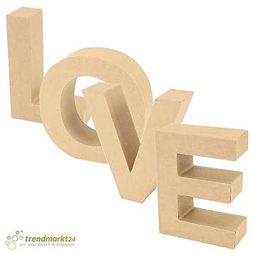 trendmarkt24 Papp-Buchstaben Set Love ✓ Papp-Mache Deko-Buchstaben-Set ✓  XXL Groß aus Pappe ✓ H: ca. 17,5 cm B: ca. 5,5 cm | L: je nach ...