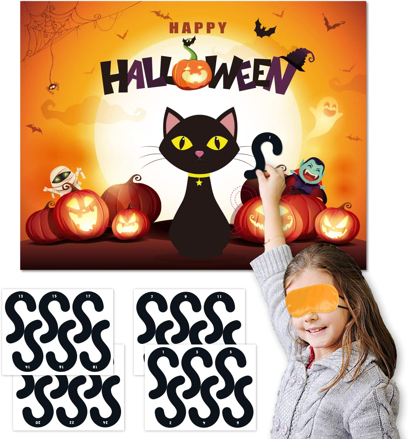 Joy Bang Halloween Party Games for Kids Pin The Tail on The ...