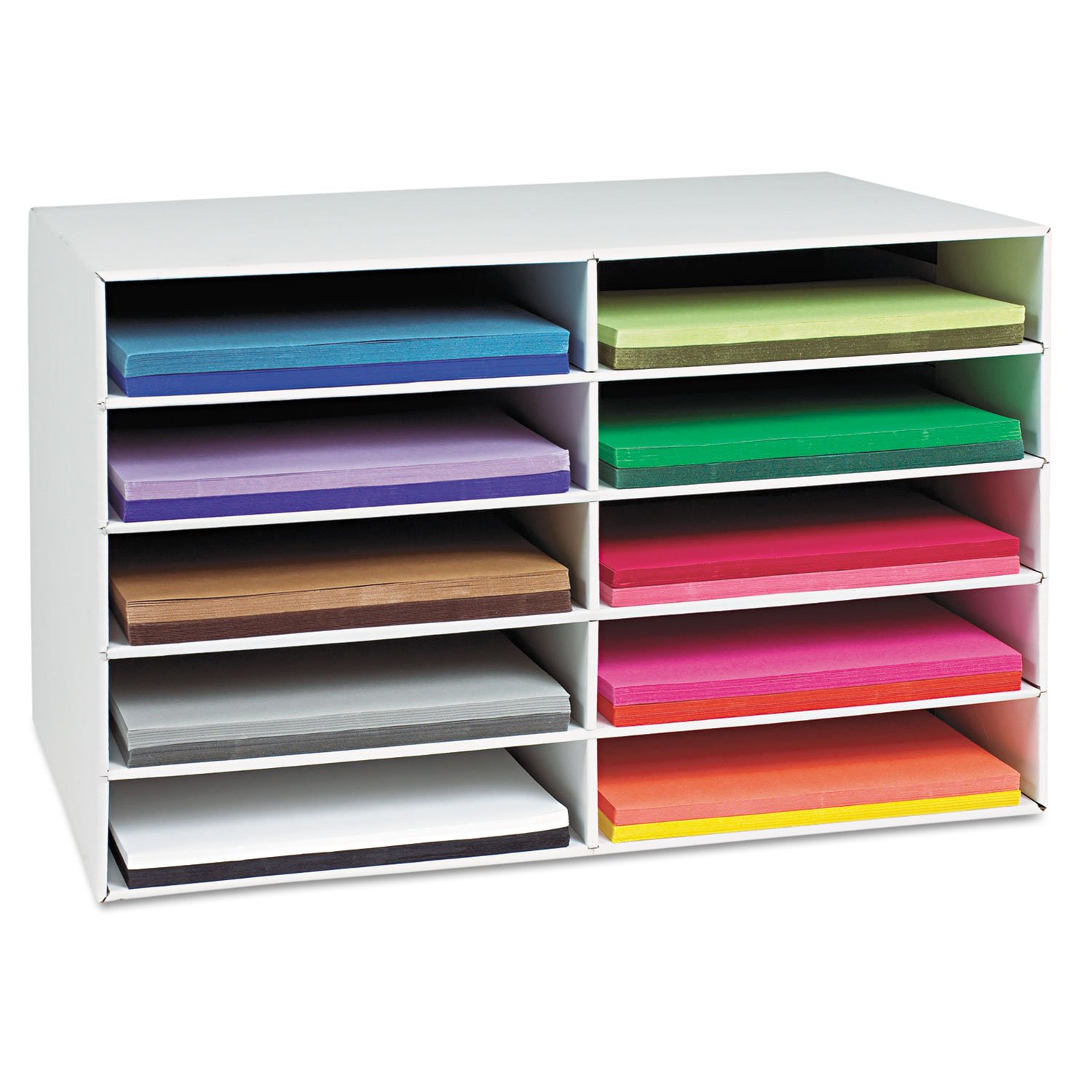 Classroom Keepers 12'' x 18'' Construction Paper Storage, 10-Slot, White, 16-7/8''H x 26-7/8''W x 18-1/2''D, 1 Piece
