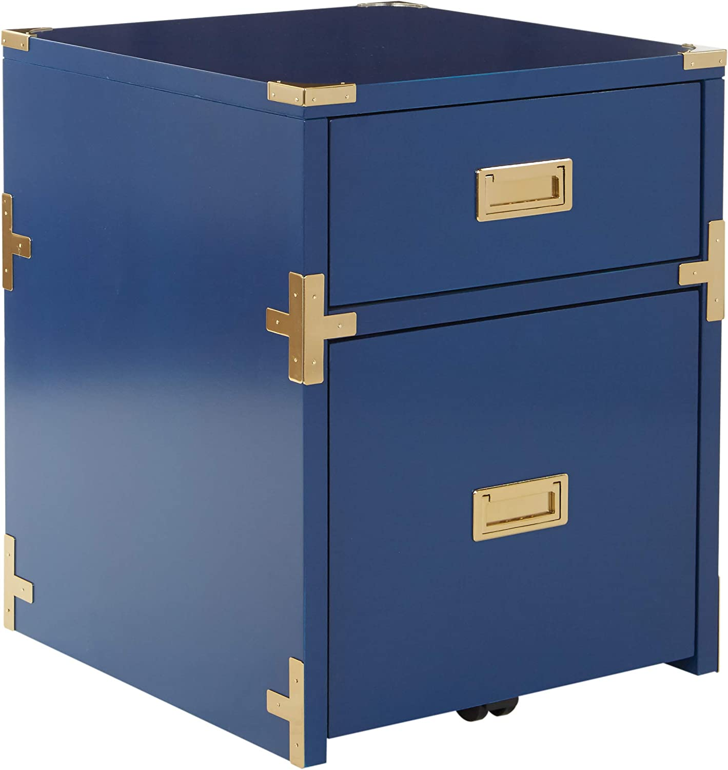 OSP Home Furnishings Wellington 2-Drawer File Cabinet, Lapis Blue Finish