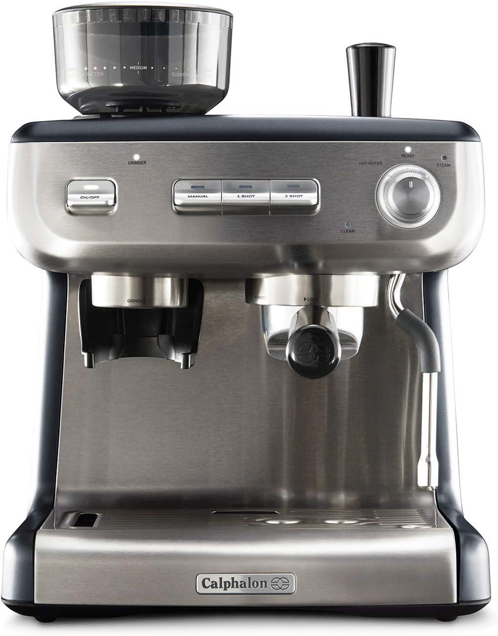 Calphalon BVCLECMPBM1 Temp iQ Espresso Machine with Grinder and Steam Wand