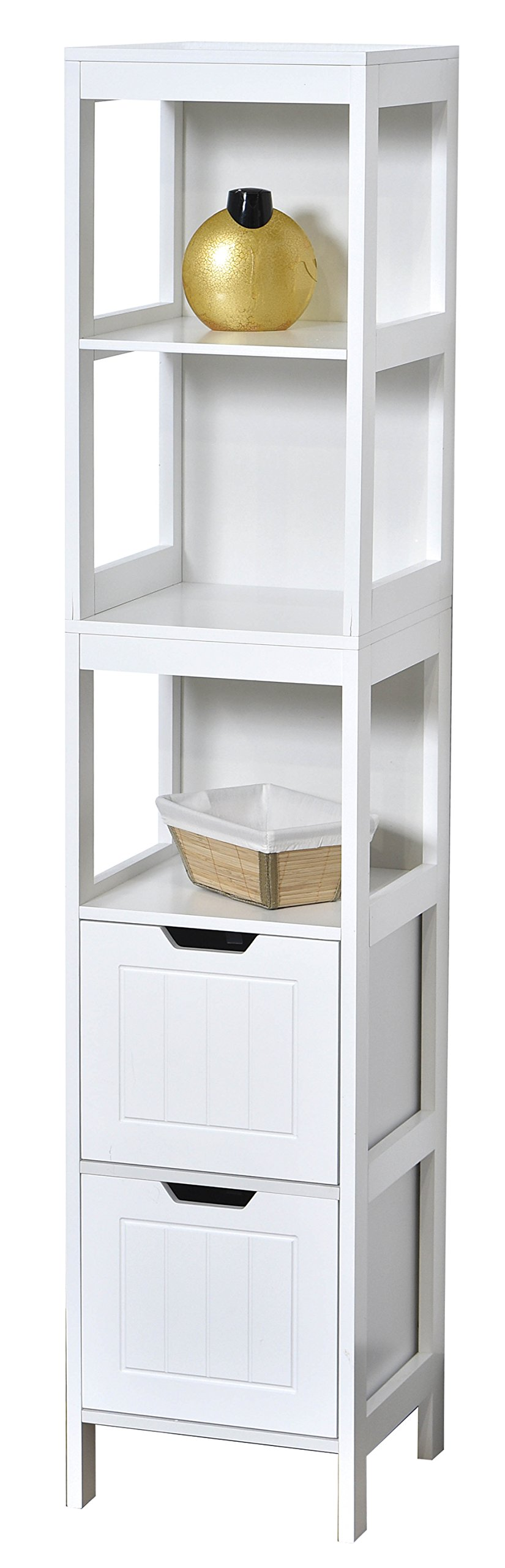Evideco Collection Cap Ferret Bathroom Free Standing Linen Tower Shelf 2 Drawers White