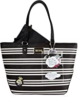 Betsey Johnson Striped Satchel Bag with Pouch (2 Piece set)