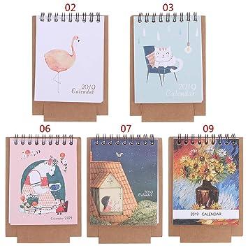 Yangfr - Calendario de mesa de escritorio pequeño, 2019 ...
