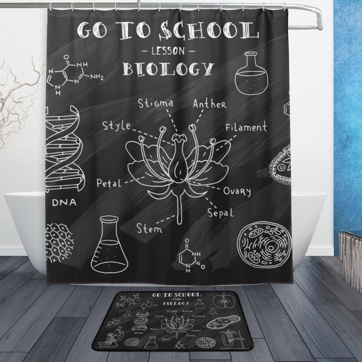 Cooper girl Back To School Biology Waterproof Shower Curtain and Doormat Bath Floor Mat Sets