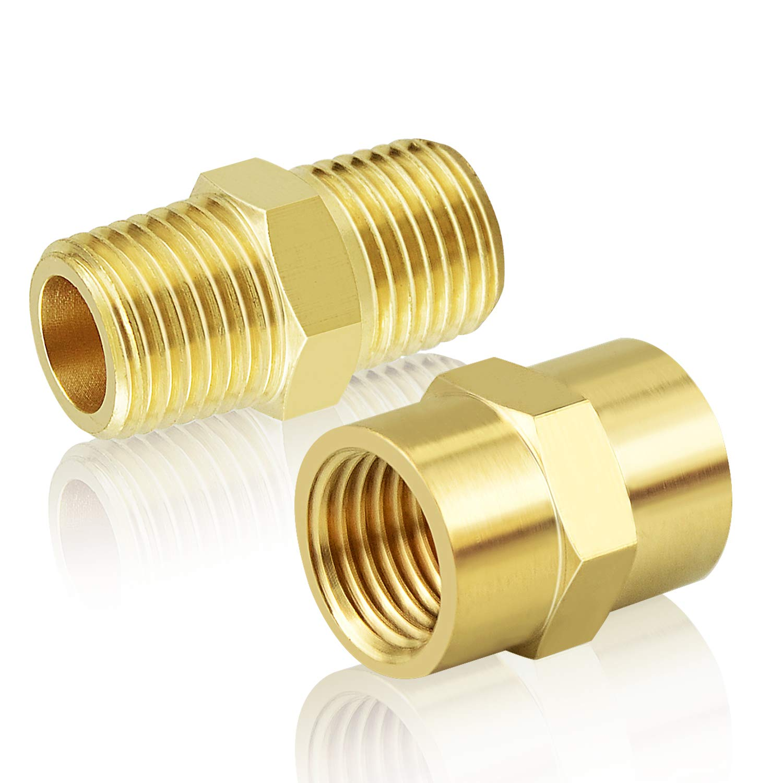 1//2 x 1//2 x 1//2 NPT Female Pipe Fittings Gasher 2 Pcs Brass Tee Fitting