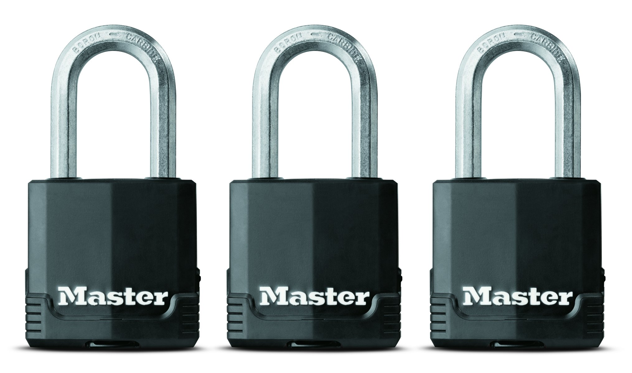 Master Lock Padlock, Magnum Covered Laminated Steel Lock, 1-7/8 in. Wide, M115XTRILF (Pack of 3-Keyed Alike)