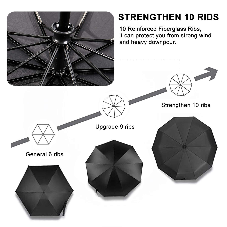 TradMall Travel Umbrella with 10 Reinforced Fiberglass Ribs 42'' Large Canopy Ergonomic Handle Auto Open & Close, Black by TradMall (Image #5)