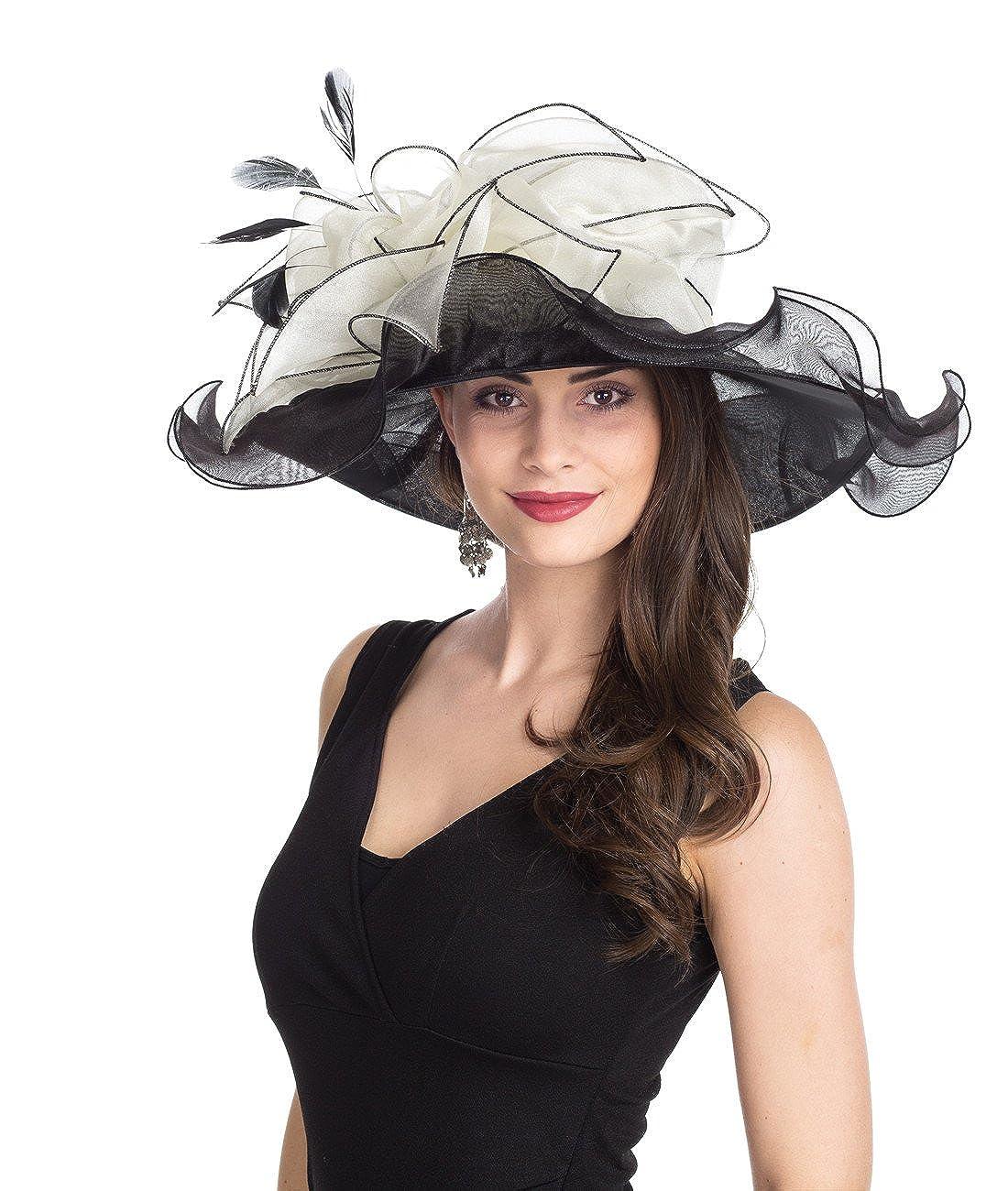 Leavesblack Beige Lucky Leaf Women Kentucky Derby Church Cap Wide Brim Summer Sun Hat for Party Wedding