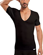 Ejis Sweat Proof Undershirts Men w/Sweat Pads, Real Silver, Micro Modal Deep V Neck