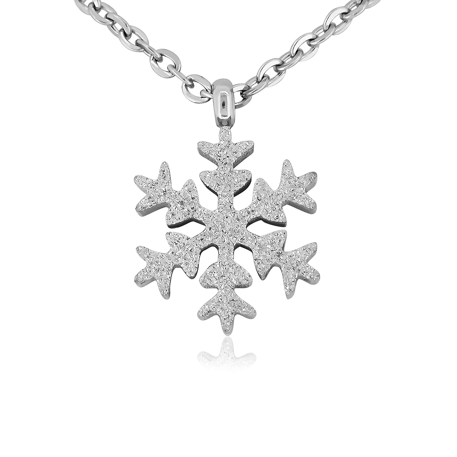 Pure 316 - Surgical Stainless Steel (316L) Snowflake Necklace - Hypoallergenic Leviev Ltd. JKN-026
