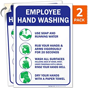 Employees Hand Washing Sign, 10x7 4 Mil Sleek Vinyl Decal Stickers, Weather Resistant Long Lasting UV Protected and Waterproof Made in USA by Sigo Signs