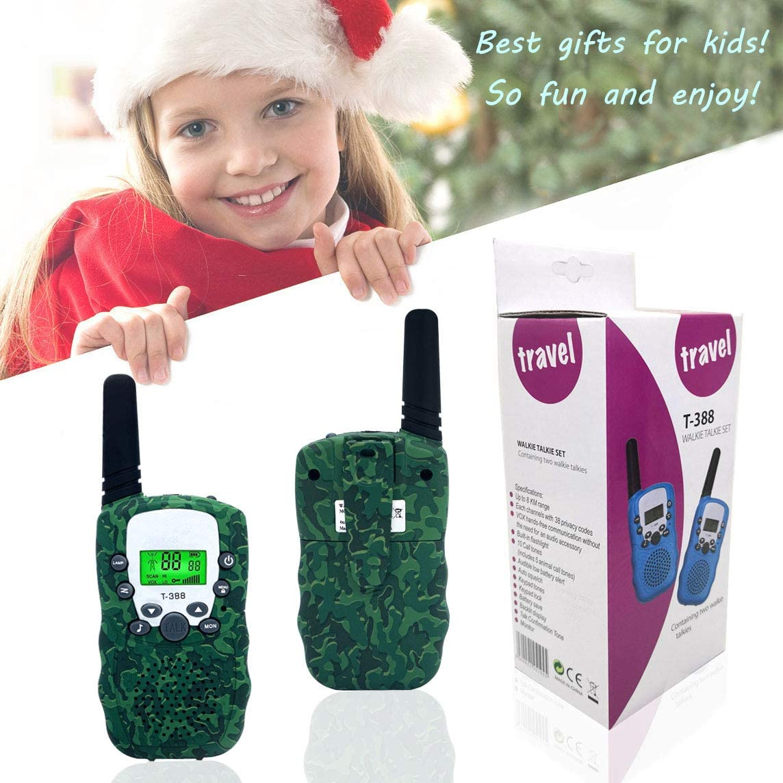 Toys for 3-12 Year Old Boys Pink Spring/& Walkie Talkies for Kids Toys for 3-12 Year Old Girls,1Pair