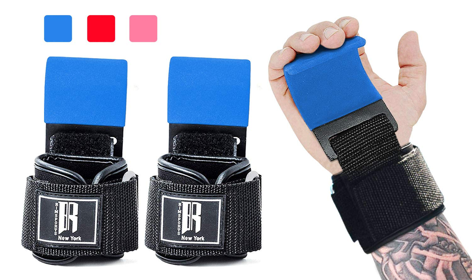 Weight Lifting Hooks Heavy Duty -Lifting Wrist Straps for Pull-ups - Deadlift Straps for Power Lifting - Weight Training Grips & Workout Straps for Weightlifting -Gym Gloves for Men & Women (Blue)