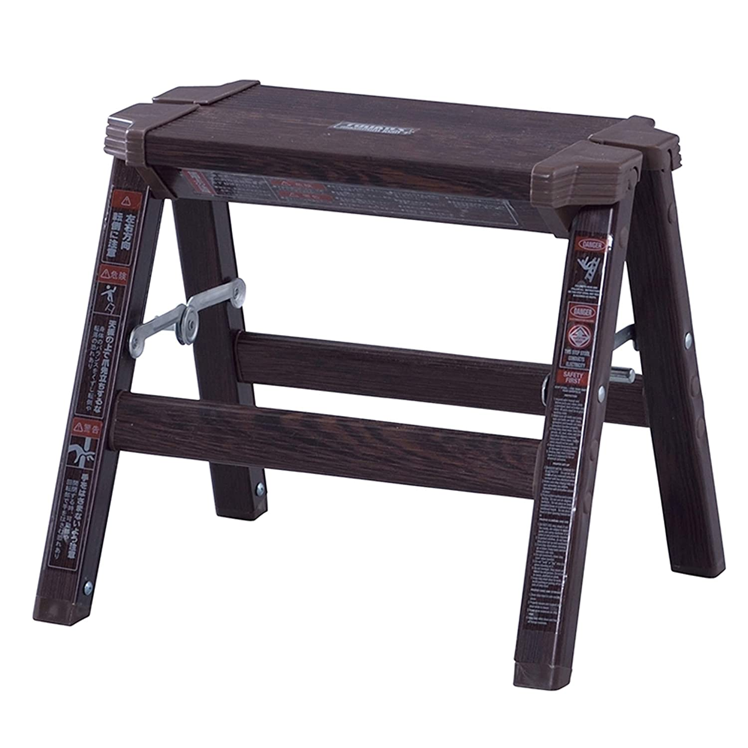 Azumaya 11.5 Height Folding Step Stool Aluminum Material Dark Brown Wooden Pattern Size Small PC-601