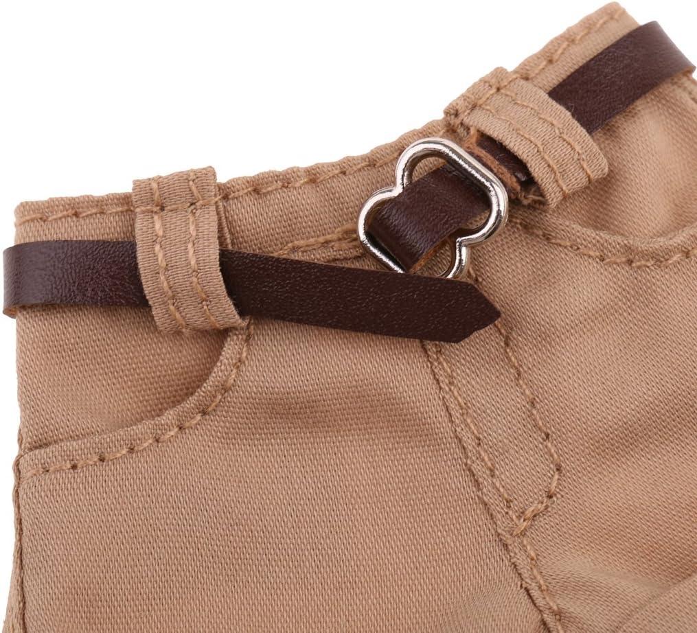 SM SunniMix Tessuto per Pantaloni Corti E Cintura in PU per Accessori per Casa delle Bambole Blythe 1//6