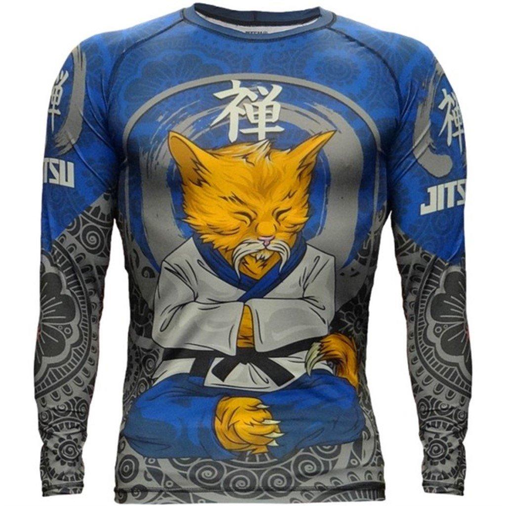 Jitsu Rash Guard Zen-Cat Men/'s Compression Shirt Long Sleeve No-Gi Jiu MMA Grappling BJJ
