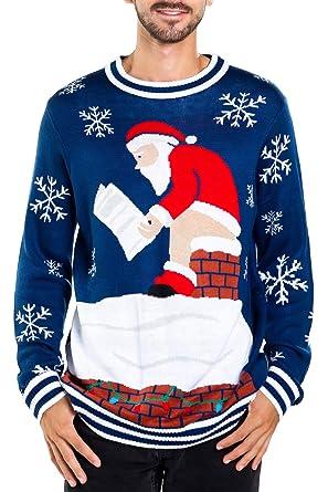 45ef2b23f Tipsy Elves Men's Santa Pooping Ugly Christmas Sweater - Funny Santa Xmas  Sweater: Medium Blue
