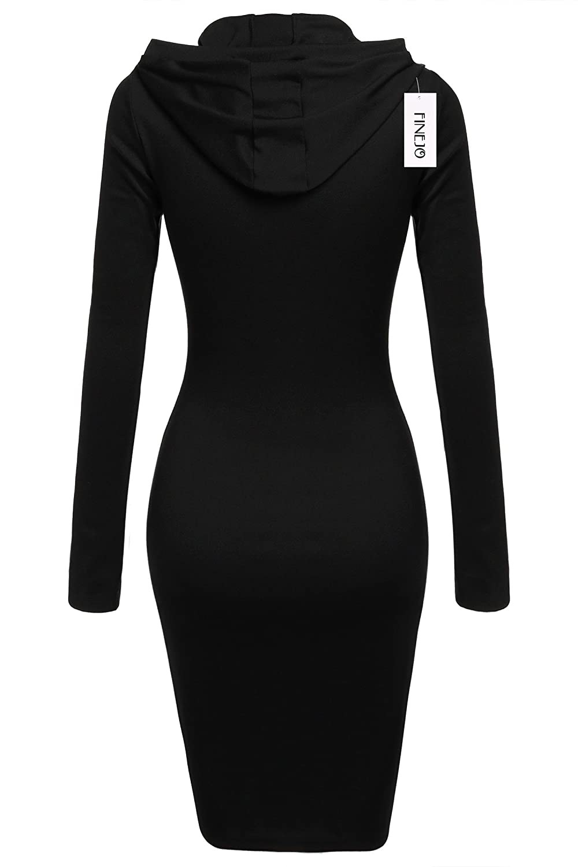 eshion Women Long Sleeve Bodycon Hooded Pullover Hoodies Sweatshirt Pencil Dress