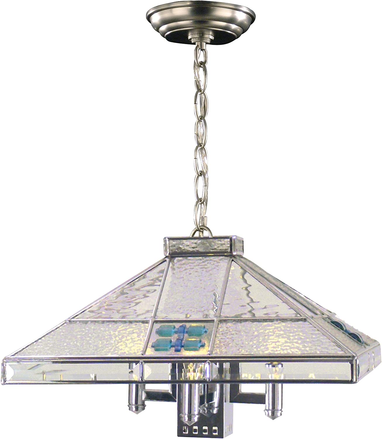 Springdale STH11034 Blue Fused Max 81% OFF 3-Light Fixture Hanging Silver Limited time for free shipping