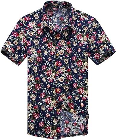YuanDian Hombre Hawaianas Camisas Tallas Grandes Verano Playa Casual Estampado Flores Manga Corta Button Down Slim Fit Tropical Stretch Suaves Aloha Camisetas Blusas: Amazon.es: Ropa y accesorios
