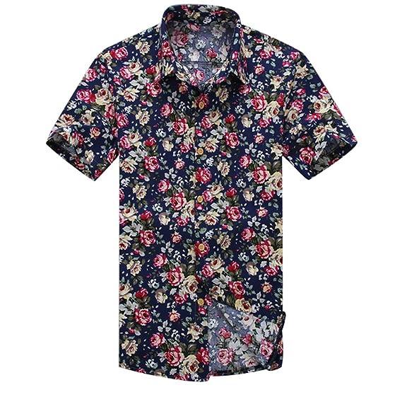 YuanDian Hombre Hawaianas Camisas Tallas Grandes Verano Playa Casual Estampado Flores Manga Corta Button Down Slim Fit Tropical Stretch Suaves Aloha ...