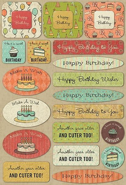 KAREN FOSTER Design Acid and Lignin Free Scrapbooking Sticker Sheet, Birthday Wishes