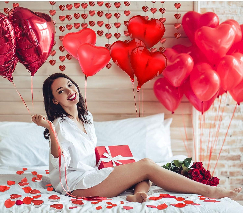 Ballons en Aluminium de Coeur Rouge Ballons en Latex de Coeur Bougies et Corde de Coeur et P/étales de Rose Rouge pour Saint-Valentin Mariage Fian/çailles Anniversaire D/écor de Saint-Valentin