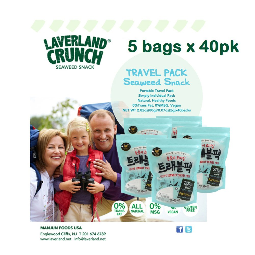 Laverland Seaweed Snack ''EASY-TO-CARRY'' Travel Pack (5 Bags of 40 Pks) by LAVERLAND (Image #5)