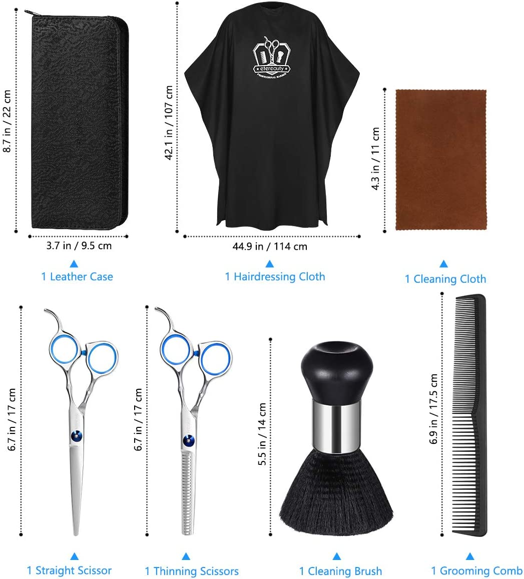 Hair Cutting Scissors Shears, Professional Barber Scissors Stainless Steel Thinning Shears Hairdressing Shears Kit, 7PCS