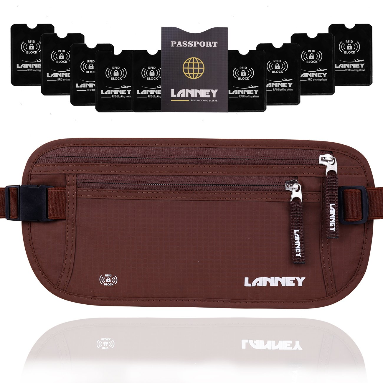 Money Belt for Travel, Waist Wallet RFID Blocking Passport Holder Concealed Anti Theft Stash Pouch for Men Women Travelling and Daily Use, Bonus 10 RFID Blocking Sleeves, Brown by LANNEY
