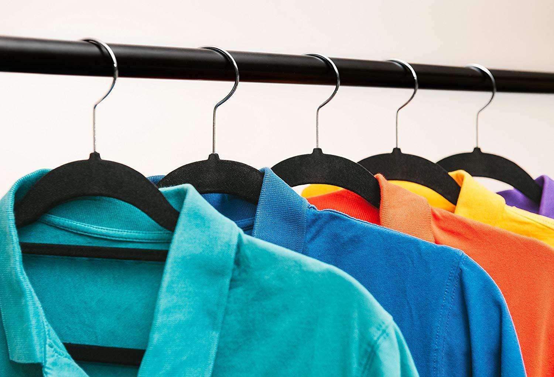 Trousers Clothes Slim Thin Non Slip Flocked Velvet Hanger Coat Guilty Gadgets PACK OF 50 Scarf Tie Black Hanging Hangers