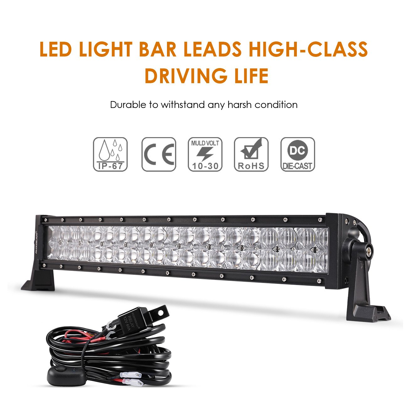 Auxbeam 22 Inch Led Light Bar Curved 120w Off Road Atv Relay Switch Wire Diagram And Three Driving Lights Spot Flood Combo Fog Lamp Cree Chips 5d Lens With Wiring Harness For