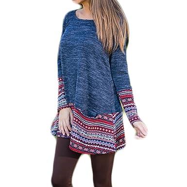 c94052ae2a3c6 Femmes Manches Longues Col Rond Mode Décontractée Chaud Imprimé Longue  Pullover Tops T-Shirt Pulls