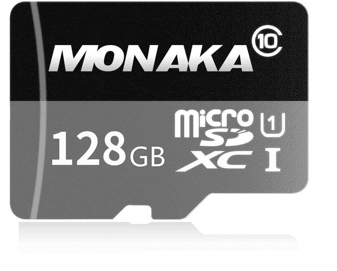 MONAKA - Tarjeta de Memoria microSDXC de 128 GB con Adaptador SD Class 10, Resistente al Agua