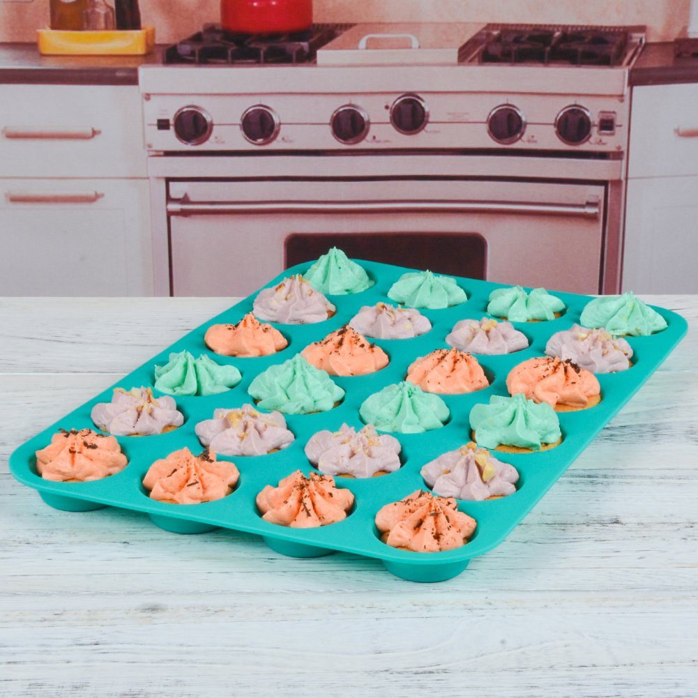 Silicone Muffin Cupcake Pan Set - Mini 24 Cups and Regular 12 Cups Muffin Tin, Nonstick BPA Free Best Food Grade Silicone Molds with Bonus 12 Silicone Baking Cups by Silikolove (Image #7)