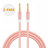 3.5mm (6FT) Auxiliary Audio Cable, [2-Pack] CableCreation Slim and Soft AUX Cable for Headphones, iPods, iPhones, iPads, Home/Car Stereos & More, 1.8M (Rose Gold)