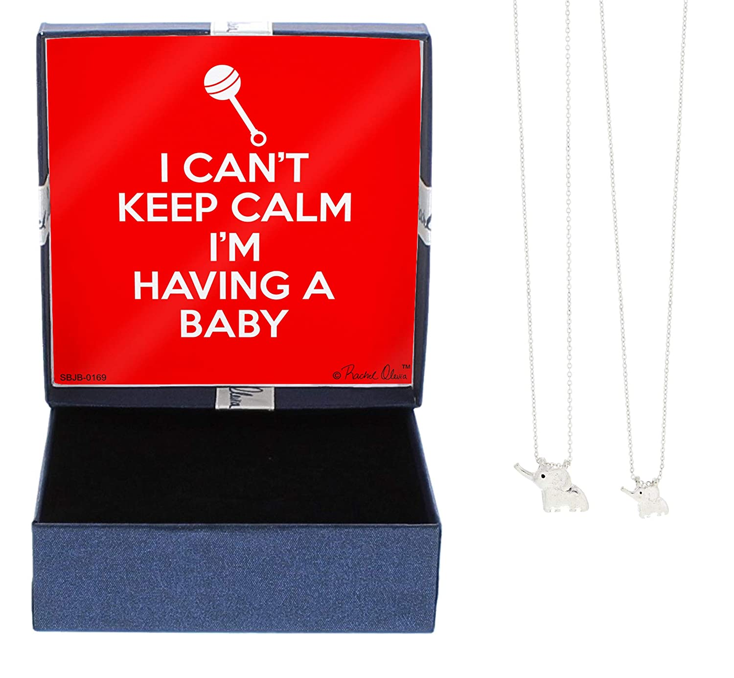Mom Gifts I Cant Keep Calm Im Having a Baby Keepsake Jewelry Box with Adjustable Sliver Tone Necklace Elephant Necklace Gift Set