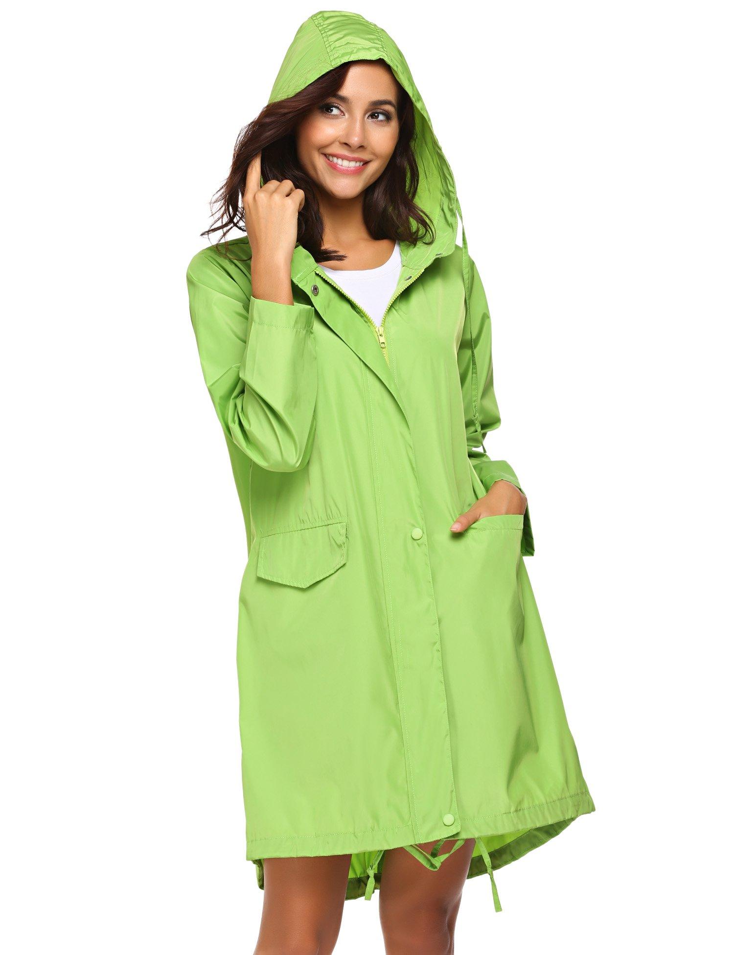Teewanna Womens Lightweight Travel Trench Waterproof Raincoat Hoodie Windproof Hiking Coat Packable Rain Jacket (Green L)