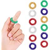 12 Pieces Spiky Sensory Finger Rings, Spiky Finger Ring/Acupressure Ring Set for Teens, Adults, Silent Stress Reducer…