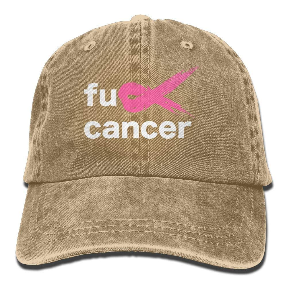 NVJUI JUFOPL Fuck Breast Cancer Pink Ribbon Vintage Washed Dyed Cotton Twill Low Profile Adjustable Baseball Cap