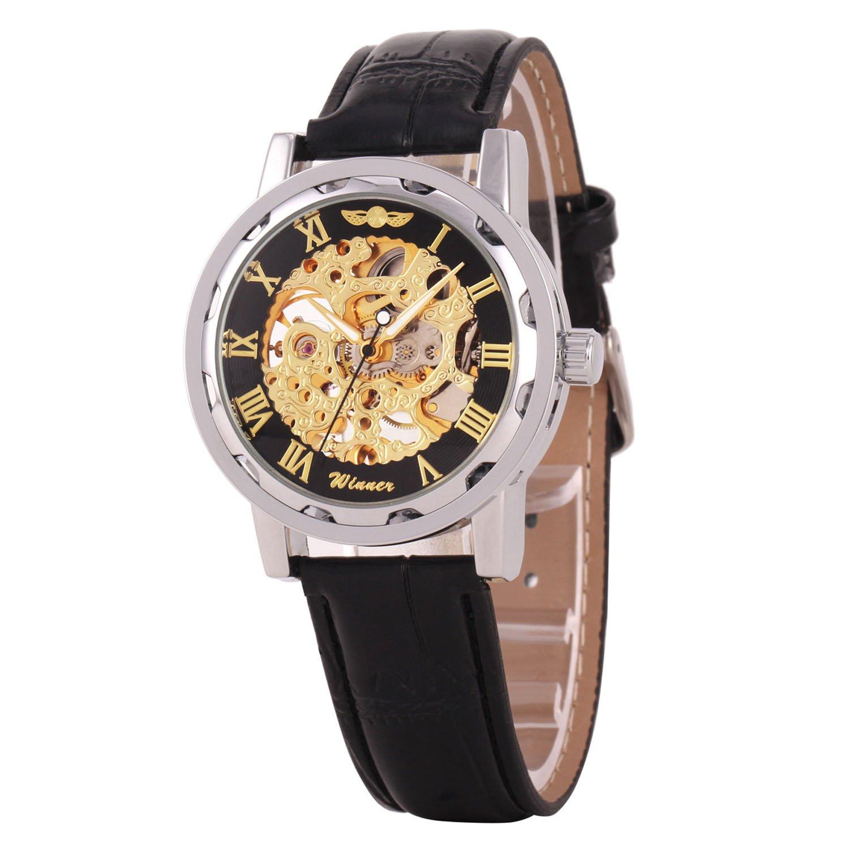 Winnerクラシックメンズレザーダイヤルスケルトン機械スポーツArmy腕時計 B06Y5VBN6X