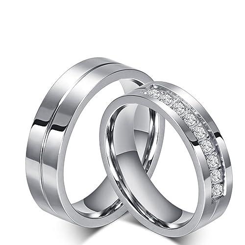 Amazon.com: ANAZOZ Stainless Steel Cubic Zirconia 6MM Silver ...