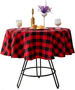 Buffalo Check Christmas Round Tablecloth Cotton Linen Plaid Table Cloth for Christmas Party Wedding Table Decoration ( Round - 55 Inch, Red & Black )